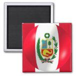 Bandera peruana con el imán de la burbuja