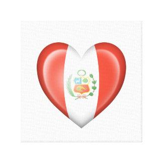 Bandera peruana del corazón en blanco impresion de lienzo