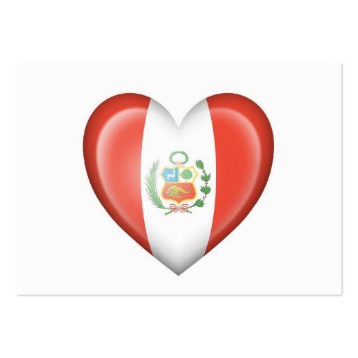 Bandera peruana del corazón en blanco tarjetas de visita grandes