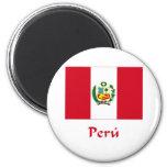 Bandera peruana imán para frigorifico
