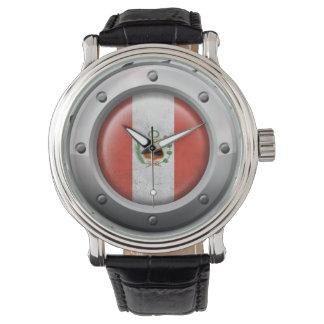 Bandera peruana industrial con el gráfico de acero relojes