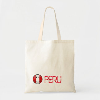 Bandera peruana sonriente de la ronda brillante bolsa tela barata