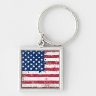 Bandera pintada salpicadura de los E.E.U.U. Llavero Cuadrado Plateado