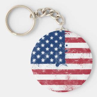 Bandera pintada salpicadura de los E.E.U.U. Llavero Redondo Tipo Pin