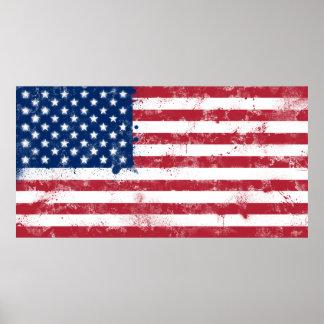 Bandera pintada salpicadura de los E.E.U.U. Posters