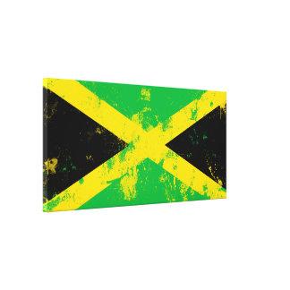 Bandera pintada salpicadura del Grunge de Jamaica Impresión En Lienzo Estirada