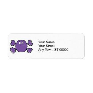 bandera pirata borrosa de la púrpura del cráneo de etiqueta de remitente