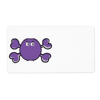 bandera pirata borrosa de la púrpura del cráneo de etiquetas de envío