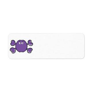 bandera pirata borrosa de la púrpura del cráneo de etiquetas de remite