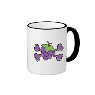 bandera pirata de la púrpura del cráneo de las uva tazas de café