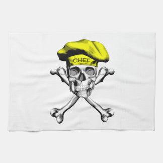 Bandera pirata del cráneo del cocinero: Amarillo Toalla De Cocina