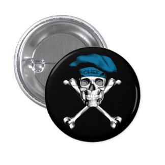 Bandera pirata del cráneo del cocinero: Azul Pin Redondo De 1 Pulgada