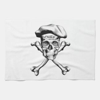 Bandera pirata del cráneo del cocinero: Blanco Toallas De Mano