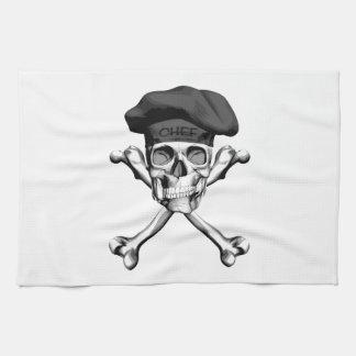 Bandera pirata del cráneo del cocinero: Negro Toallas De Mano