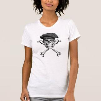 Bandera pirata del cráneo del cocinero: Negro Playeras