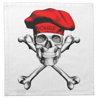 Bandera pirata del cráneo del cocinero: Rojo Servilleta Imprimida