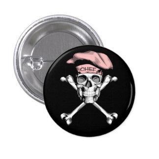 Bandera pirata del cráneo del cocinero: Rosa Pin Redondo De 1 Pulgada