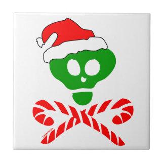 Bandera pirata del cráneo del navidad tejas  cerámicas