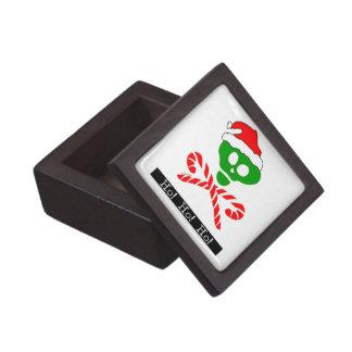 Bandera pirata del cráneo del navidad cajas de recuerdo de calidad