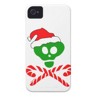 Bandera pirata del cráneo del navidad iPhone 4 cárcasa