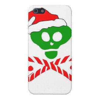 Bandera pirata del cráneo del navidad iPhone 5 funda