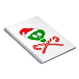 Bandera pirata del cráneo del navidad libros de apuntes