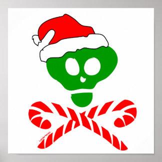 Bandera pirata del cráneo del navidad poster