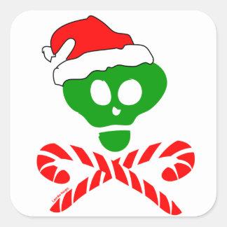 Bandera pirata del cráneo del navidad pegatina cuadradas