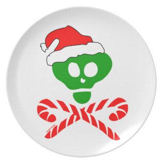 Bandera pirata del cráneo del navidad platos de comidas