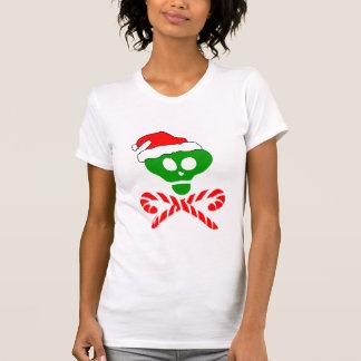 Bandera pirata del cráneo del navidad camisetas