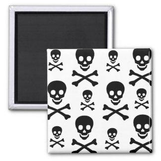 Bandera pirata del cráneo N Imán Cuadrado