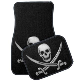 Bandera pirata del cráneo y de la espada del alfombrilla de coche