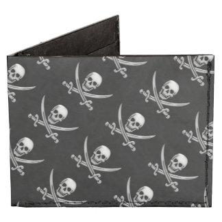 Bandera pirata del cráneo y de la espada del billeteras tyvek®