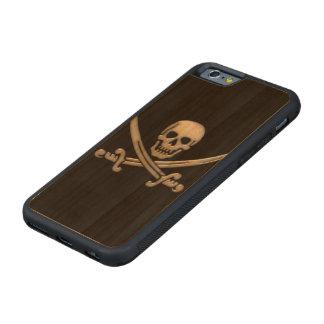 Bandera pirata del cráneo y de la espada del funda de iPhone 6 bumper cerezo