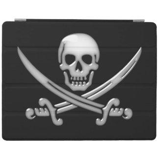 Bandera pirata del cráneo y de la espada del cubierta de iPad