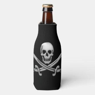 Bandera pirata del cráneo y de la espada del enfriador de botellas