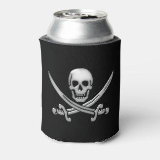 Bandera pirata del cráneo y de la espada del enfriador de latas