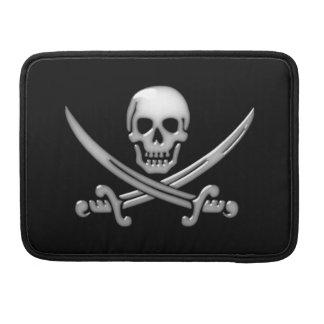 Bandera pirata del cráneo y de la espada del fundas macbook pro