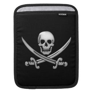 Bandera pirata del cráneo y de la espada del fundas para iPads