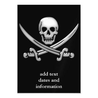 Bandera pirata del cráneo y de la espada del invitaciones magnéticas