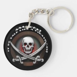 Bandera pirata del cráneo y de la espada del llavero redondo acrílico a doble cara