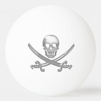 Bandera pirata del cráneo y de la espada del pelota de ping pong