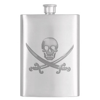 Bandera pirata del cráneo y de la espada del petacas