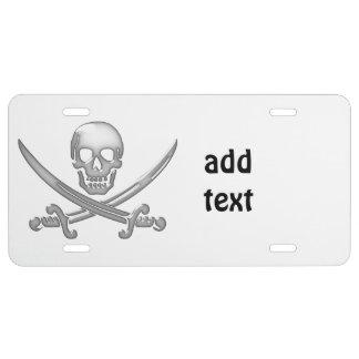 Bandera pirata del cráneo y de la espada del placa de matrícula