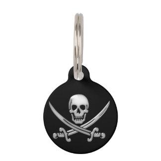 Bandera pirata del cráneo y de la espada del identificador para mascotas