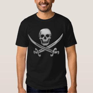 Bandera pirata del cráneo y de la espada del playera