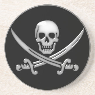 Bandera pirata del cráneo y de la espada del posavasos diseño