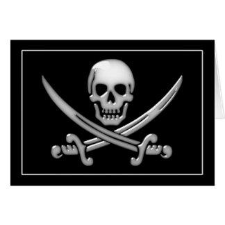 Bandera pirata del cráneo y de la espada del felicitaciones