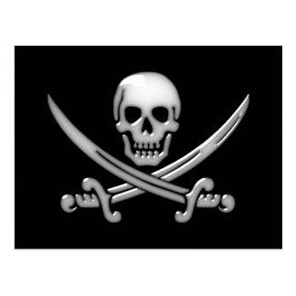 Bandera pirata del cráneo y de la espada del tarjetas postales