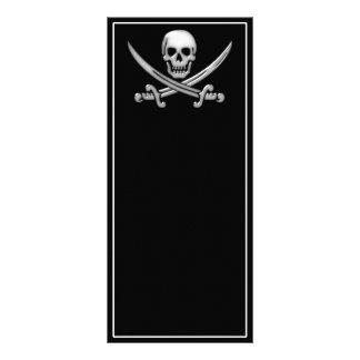 Bandera pirata del cráneo y de la espada del tarjetas publicitarias